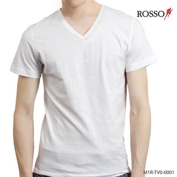 ROSSOเสื้อยืดคอวีผ้า TK สีพื้น รุ่น TV0-0001
