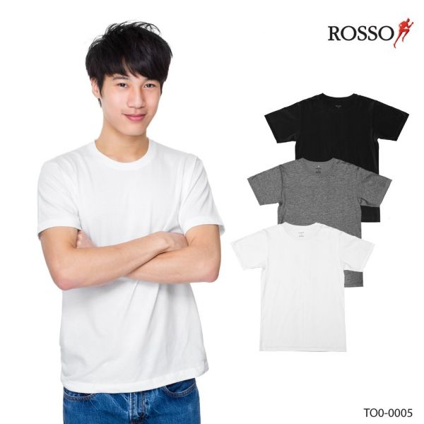ROSSO เสื้อคอกลม ผ้า cotton USA รุ่น TO0-0005 (1ชิ้นต่อแพ็ค)