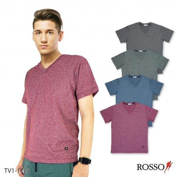 ROSSO เสื้อยืดคอวีแต่งริบ รุ่น TV1-1123(1 ตัว / แพค)